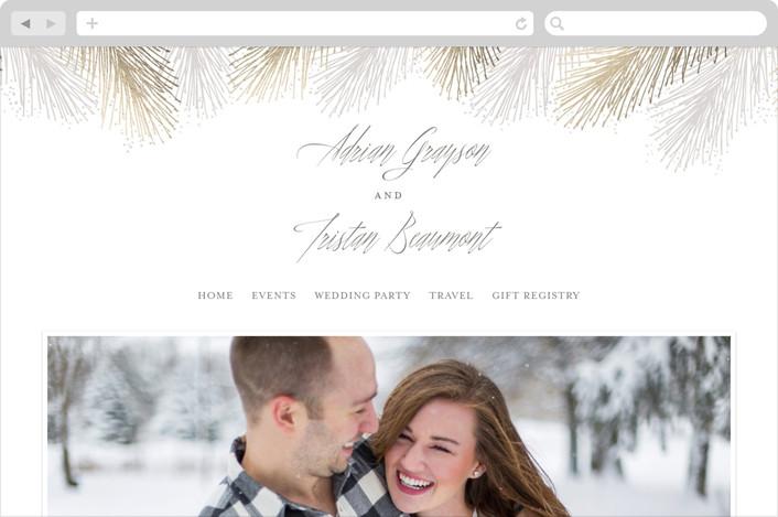 """Winter Pine"" - Wedding Websites in Gold by Hooray Creative."