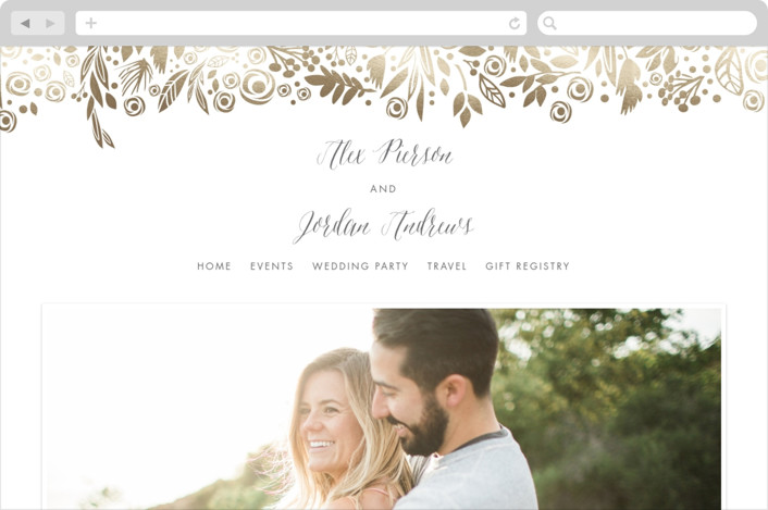 """Elegant Floral Garland"" - Wedding Websites in Gold by Erin Deegan."