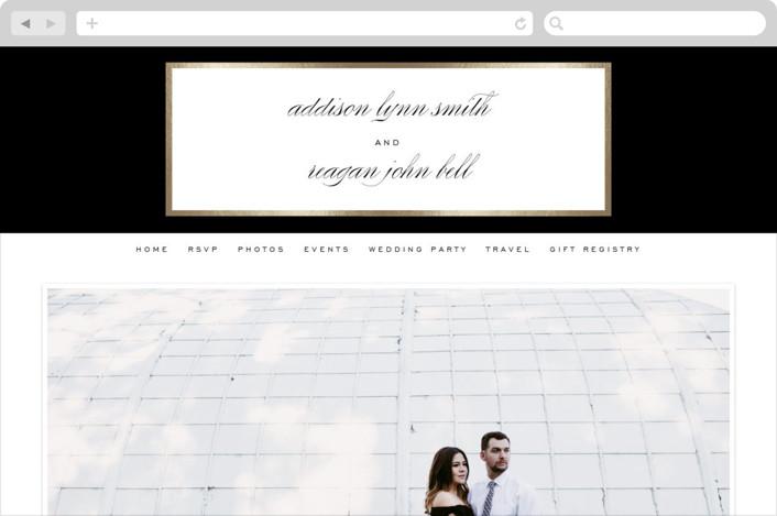 This is a black wedding website by Julia Hall called Elegant Type printing on digital paper.