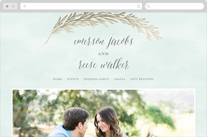 """Embrace"" - Wedding Websites in Sea Mist by Grace Kreinbrink."