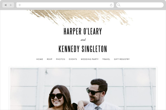 """""""Gilded"""" - Wedding Websites in Gold by Carrie ONeal."""