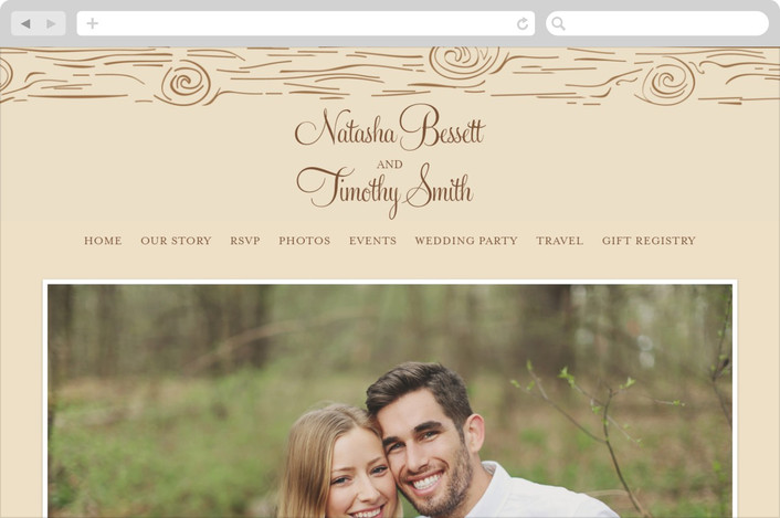 """Fall Carving"" - Rustic, Whimsical & Funny Wedding Websites in Woodgrain by Amanda Joy."