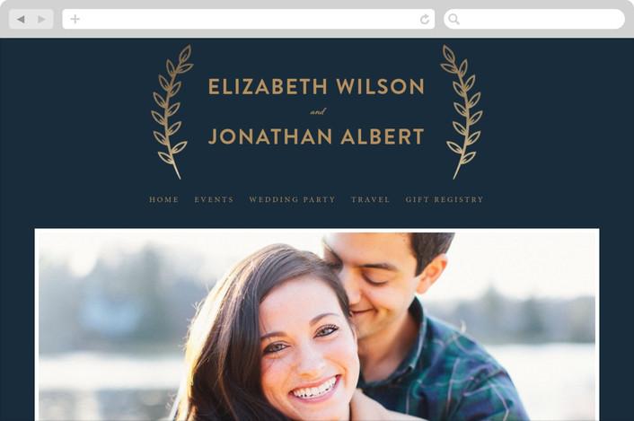 """Golden Celebration"" - Wedding Websites in Navy by Joanne Williams."