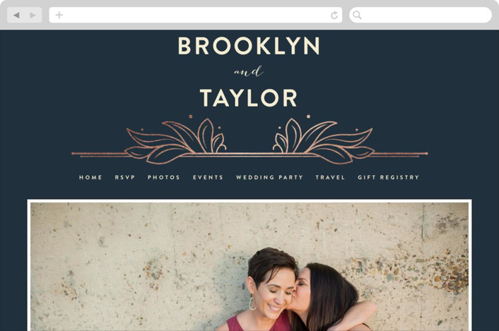 This is a blue wedding website by GeekInk Design called Engraved printing on digital paper.