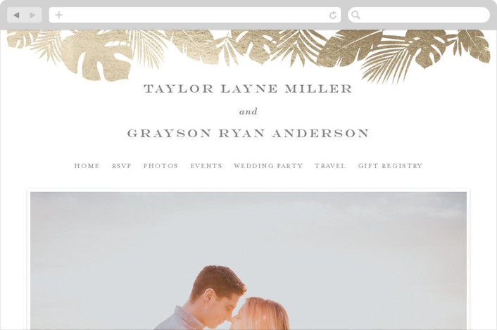 """Gilded Palm"" - Wedding Websites in Gold by Lauren Chism."