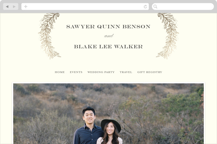 """Classic Branches"" - Wedding Websites in Cream by Grace Kreinbrink."