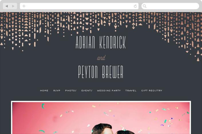 """Handdrawn Geometrics"" - Wedding Websites in Charcoal by Hooray Creative."