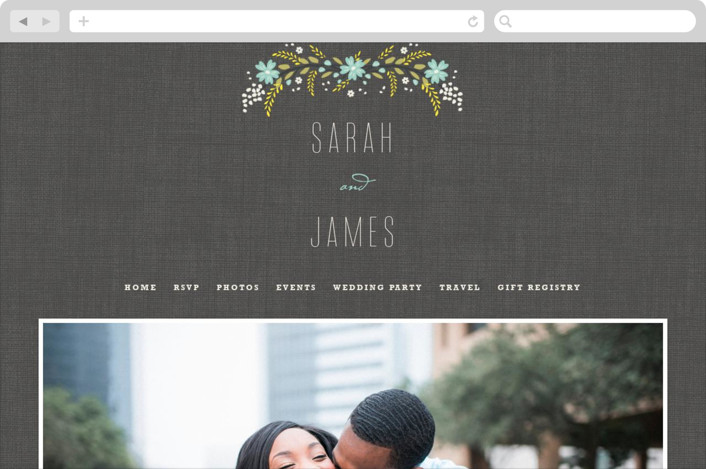 """Botanical Blooms"" - Floral & Botanical, Rustic Wedding Websites in Mint by Kristie Kern."