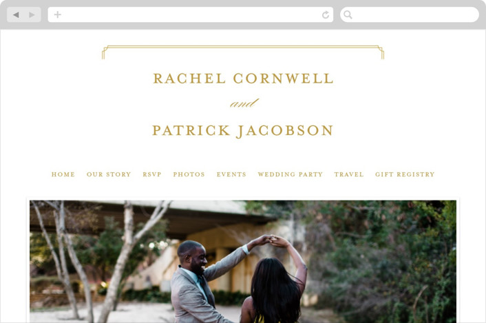 """""""Luxe Border"""" - Wedding Websites in Gold by Sarah Brown."""