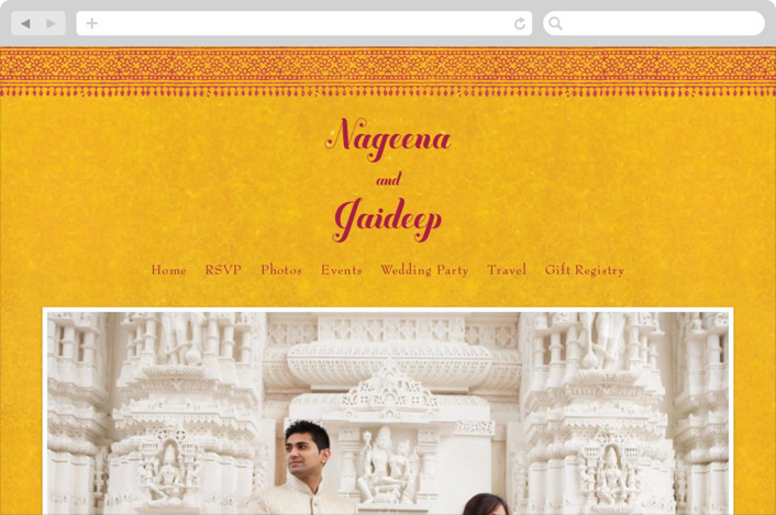This is a yellow wedding website by Ann Gardner called Anand Karaj printing on digital paper.