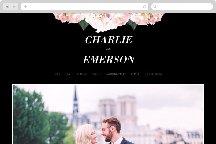 """Peonie Party"" - Floral & Botanical Wedding Websites in Noir by Baumbirdy."