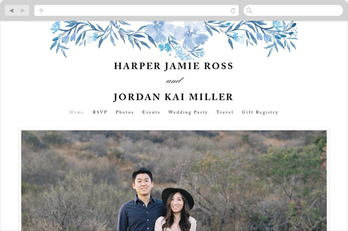 """Poetic Blue"" - Wedding Websites in Sky by Qing Ji."