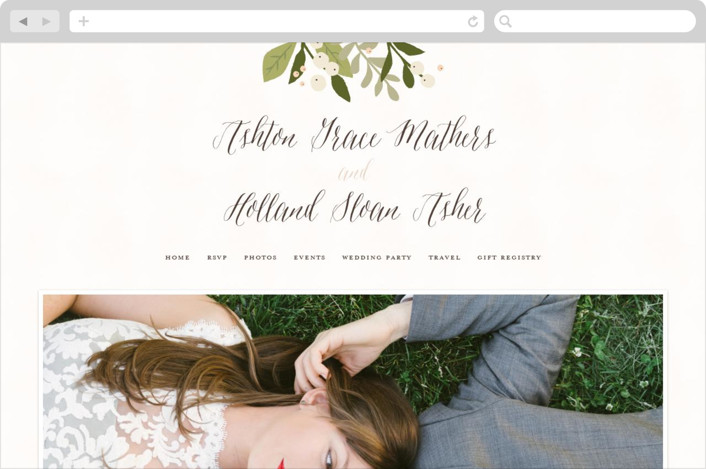This is a pink wedding website by Jennifer Wick called Ribbonly printing on digital paper.