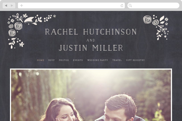 """""""Alabaster Florals"""" - Wedding Websites in Slate by Jennifer Wick."""