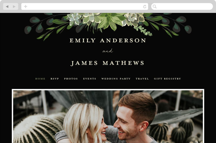 """Agave & Greens"" - Wedding Websites in Midnight by Susan Moyal."