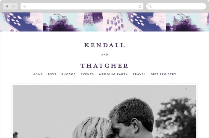 This is a purple wedding website by iamtanya called Dreaming printing on digital paper.