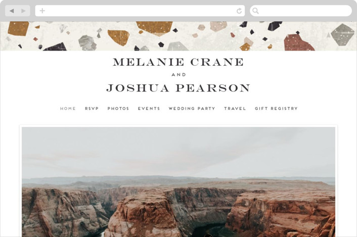 """Terrazzo Frame"" - Modern Wedding Websites in Mustard by Amy Payne."