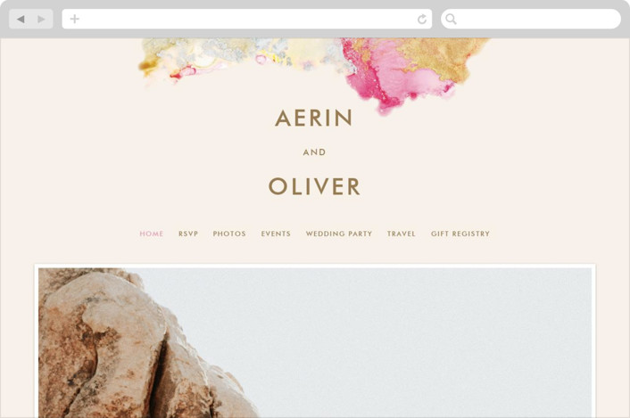 This is a pink wedding website by AK Graphics called desert chic printing on digital paper.