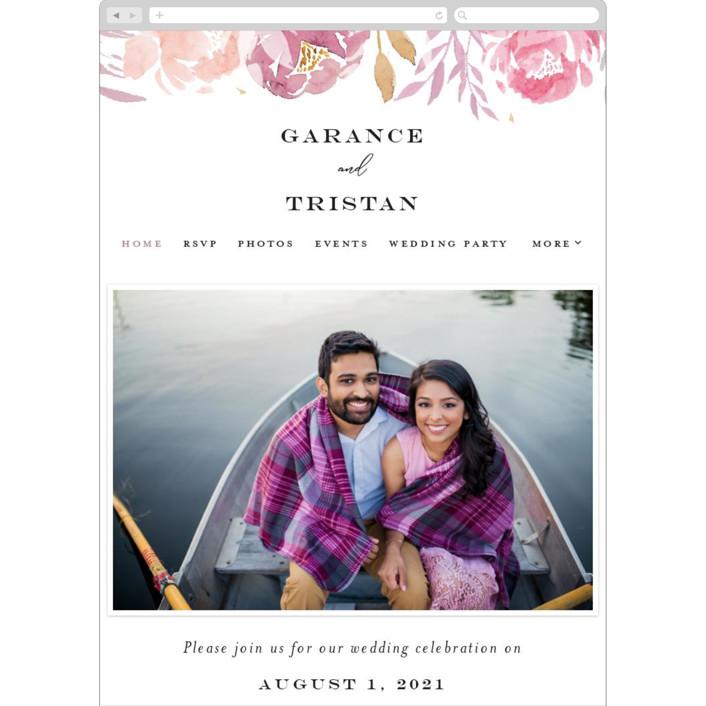 """Grand Bloom"" - Wedding Websites in Mauve by Bonjour Paper."