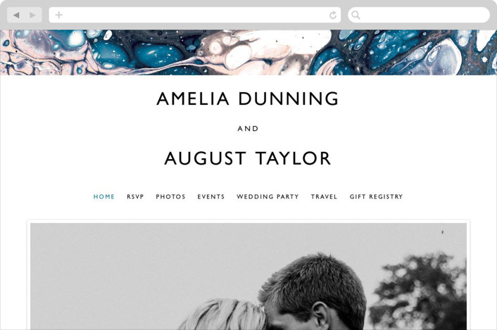 This is a blue wedding website by Alethea and Ruth called swirl printing on digital paper.