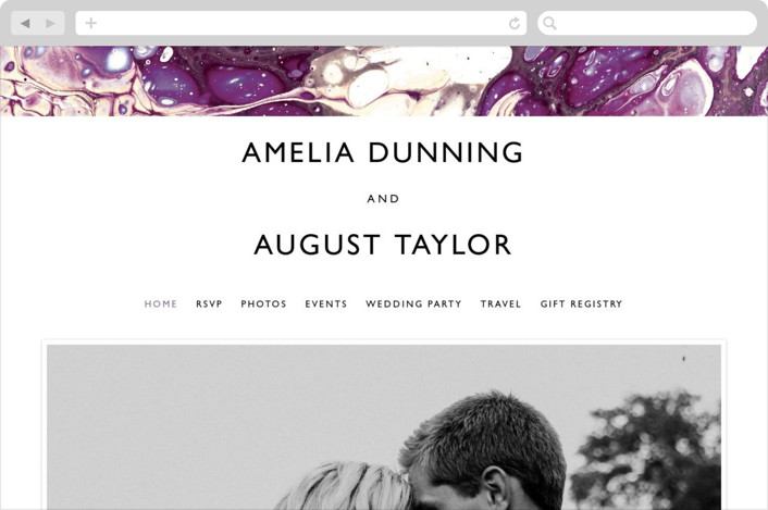 This is a purple wedding website by Alethea and Ruth called swirl printing on digital paper.
