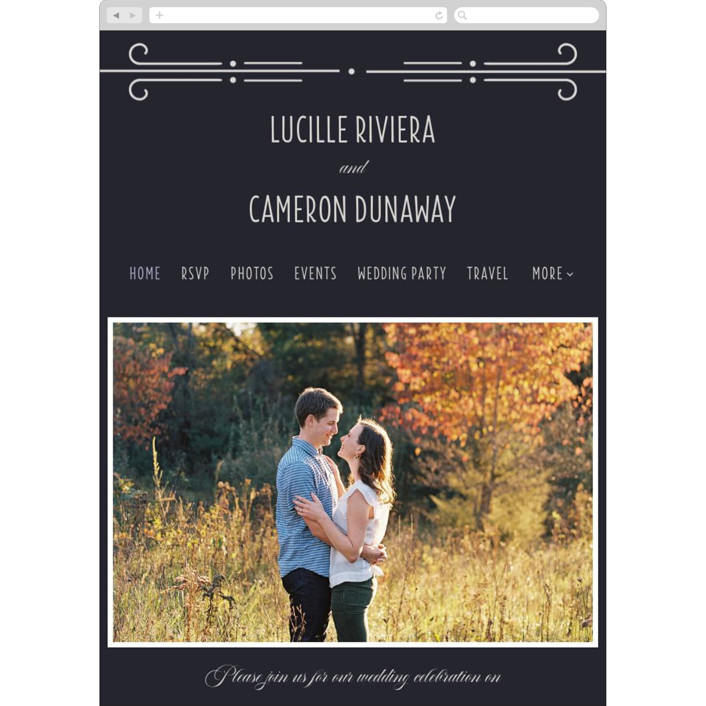 """""""Nouvelle Ere"""" - Vintage Wedding Websites in Midnight by Bonjour Paper."""