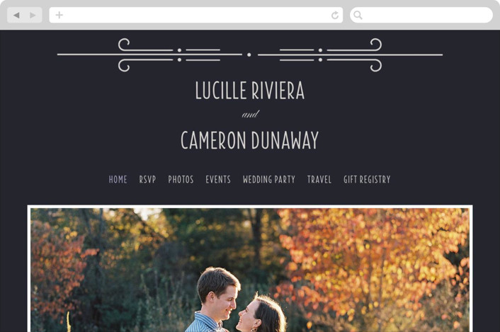 This is a blue wedding website by Bonjour Paper called Nouvelle Ere printing on digital paper.
