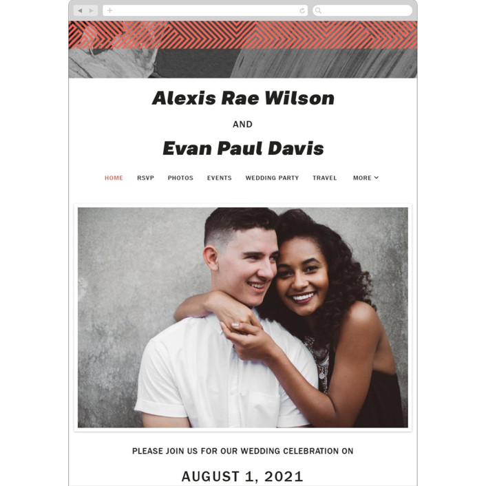 """""""Alexis"""" - Modern Wedding Websites in Coral by Calee A.H. Cecconi."""