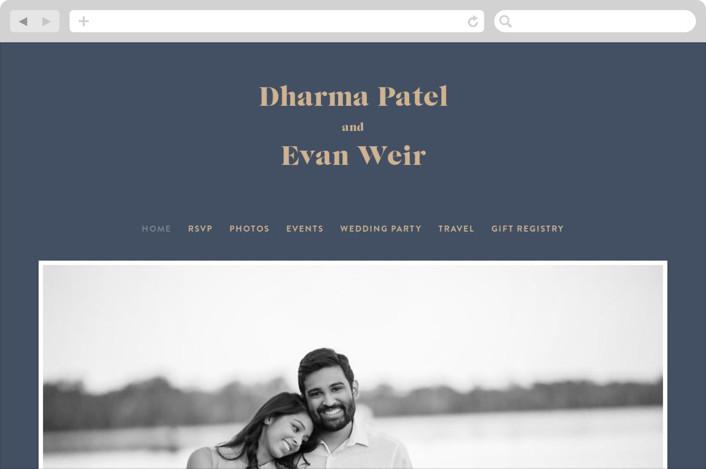 This is a blue wedding website by Melissa Egan of Pistols called headline printing on digital paper.