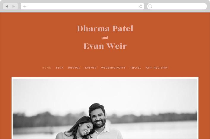 This is a orange wedding website by Melissa Egan of Pistols called headline printing on digital paper.