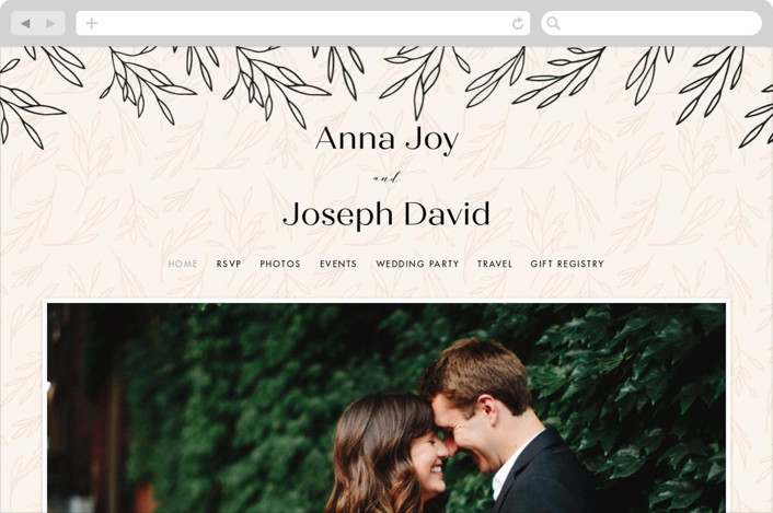 This is a beige wedding website by Sarah Brown called Snippet printing on digital paper.