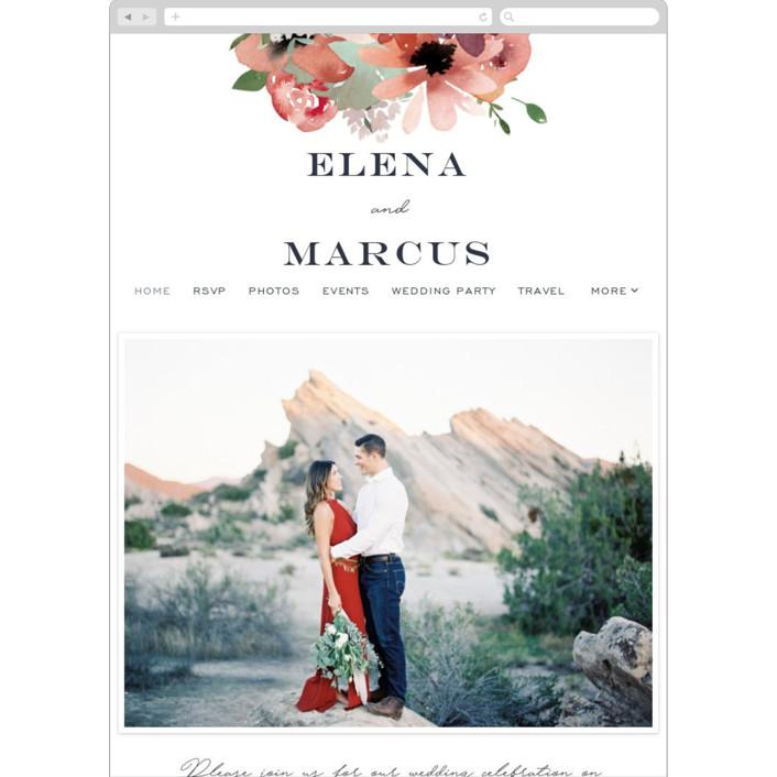 """Cascading Florals"" - Wedding Websites in Rouge by Leah Bisch."