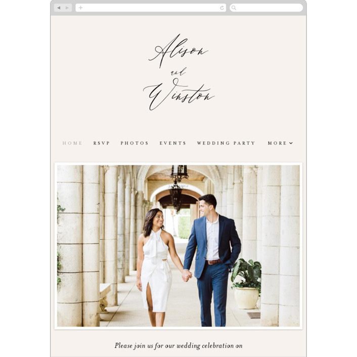"""""""Timeless"""" - Wedding Websites in Taupe by Leah Bisch."""