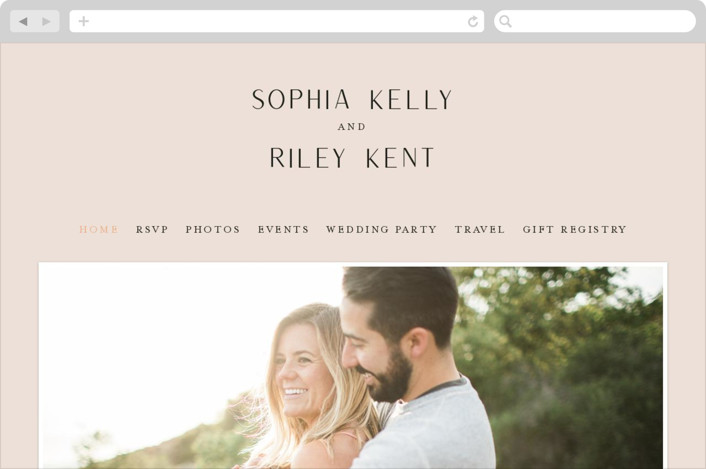 This is a pink wedding website by Leah Bisch called Adora printing on digital paper.