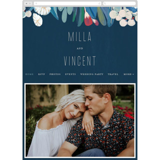 This is a blue wedding website by Morgan Ramberg called Floral Burst printing on digital paper.