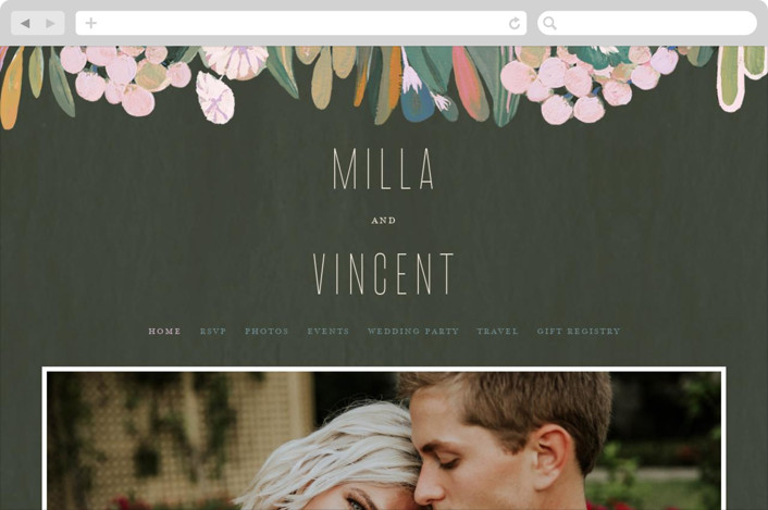 This is a green wedding website by Morgan Ramberg called Floral Burst printing on digital paper.