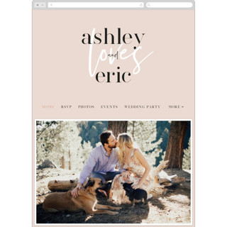 This is a pink wedding website by Angela Garrick called Loved printing on digital paper.