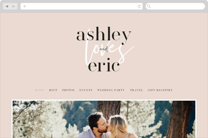 This is a pink wedding website by Angela Garrick called Loved printing on digital paper.