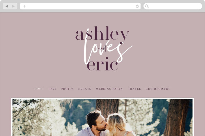 This is a purple wedding website by Angela Garrick called Loved printing on digital paper.