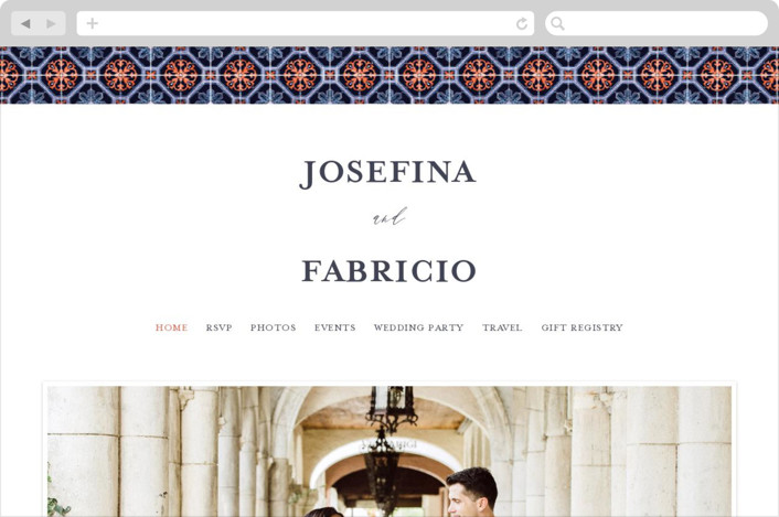This is a orange wedding website by Anastasia Makarova called watercolor azulejo printing on digital paper.