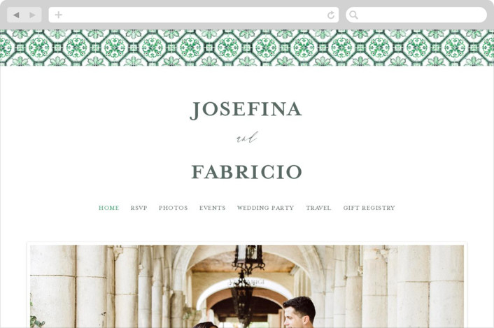 This is a green wedding website by Anastasia Makarova called watercolor azulejo printing on digital paper.