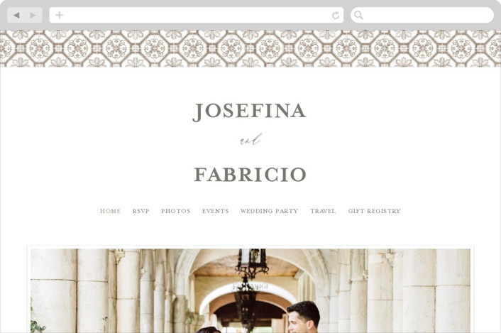 This is a brown wedding website by Anastasia Makarova called watercolor azulejo printing on digital paper.