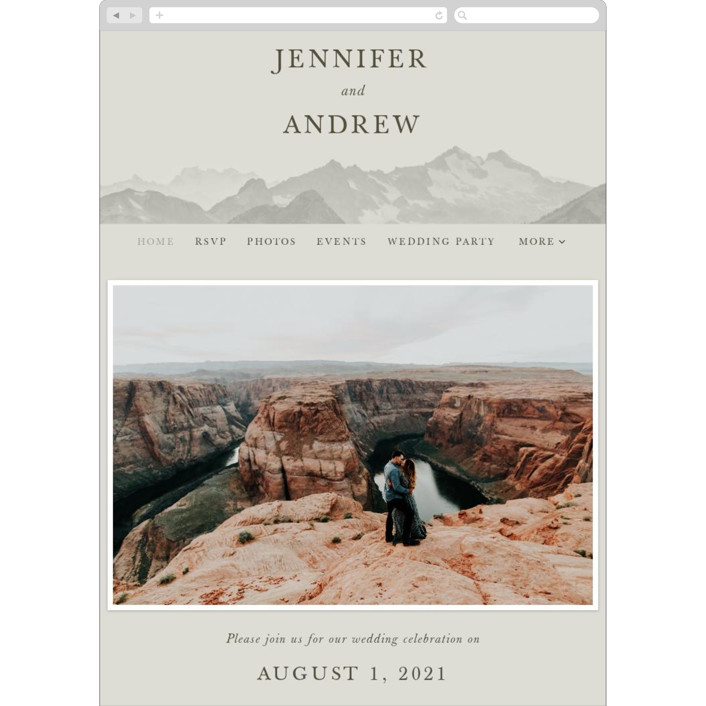 """Modern Mountain"" - Rustic Wedding Websites in Fog by Gratia Design Co.."