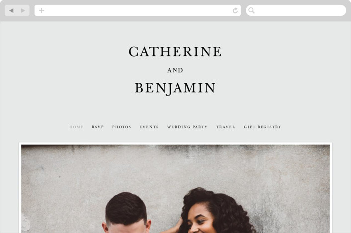 This is a black and white wedding website by Kayla Dawson called Catherine printing on digital paper.