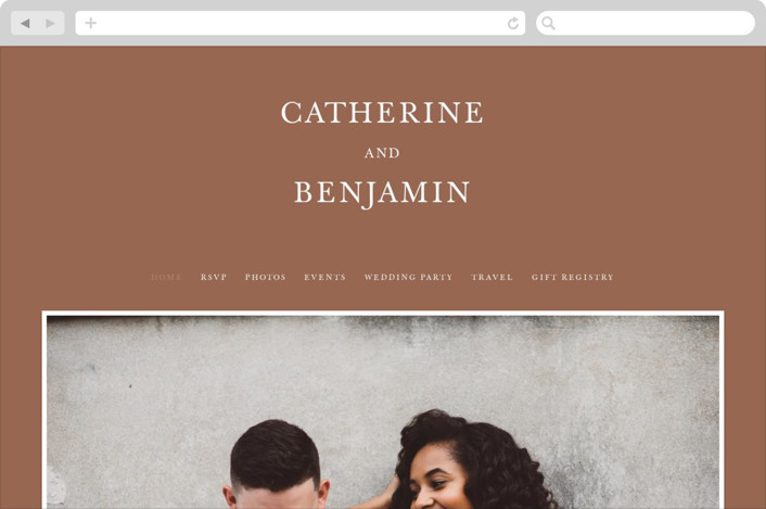 This is a orange wedding website by Kayla Dawson called Catherine printing on digital paper.
