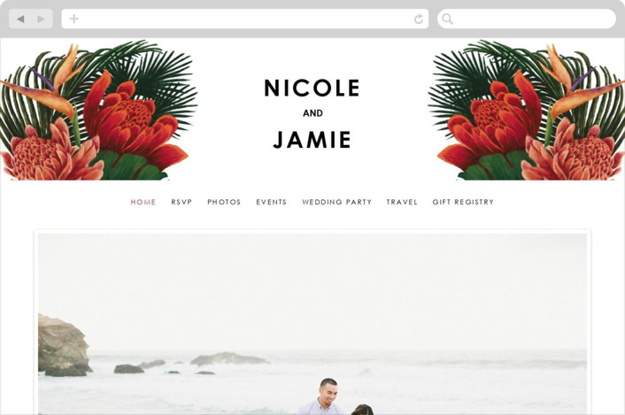 """""""Tropical Bouquet"""" - Wedding Websites in Basil by Elly."""