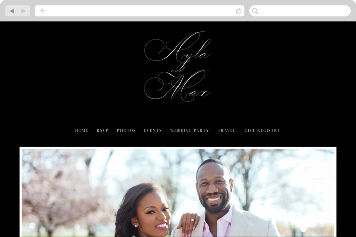 This is a classic and formal, black Wedding Websites by Keen Peachy called Sweet Nothings with printing on Digital Paper in Digital Invitation format. A romantic and elegant wedding invitation with focus on the names of the special couple.