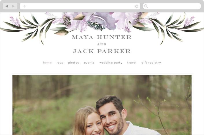 This is a purple wedding website by Petra Kern called Maya Rustica printing on digital paper.