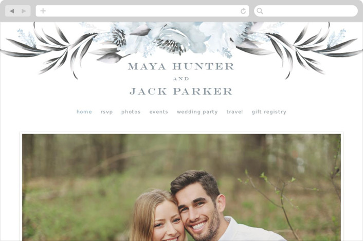 This is a blue wedding website by Petra Kern called Maya Rustica printing on digital paper.