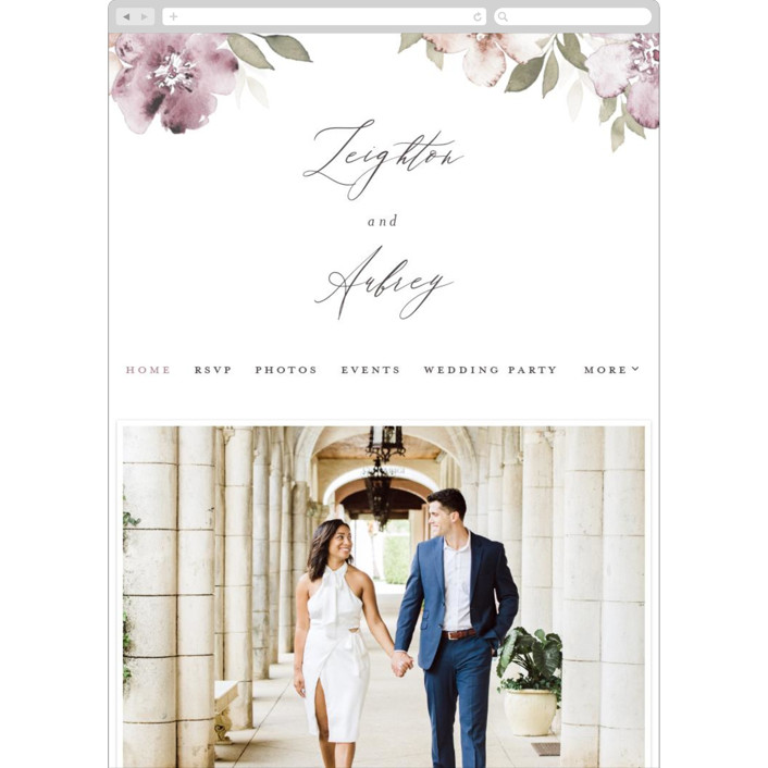 """""""Fancifully"""" - Wedding Websites in Dust Mauve by Everett Paper Goods."""